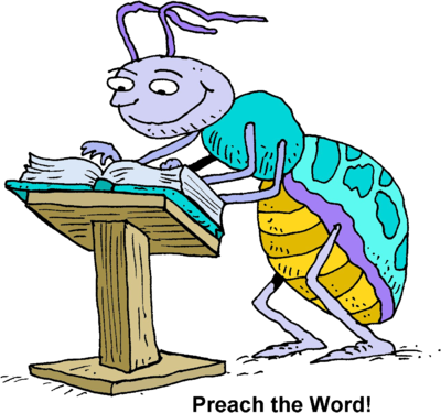 Image: Bug at a a pulpit reading pages of a Bible | Christart.com