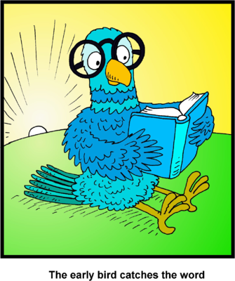 Image: Clip art of Bird reading Bible | Bible Clip Art