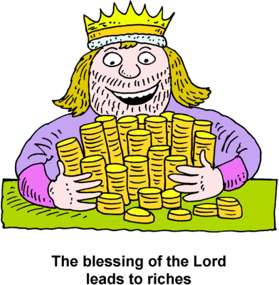 Image: A King Embracing a Pile of Gold Coins | Christart.com