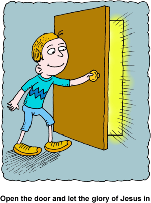 Open Door Clipart image: boy opening door with glorious rays pouring through the