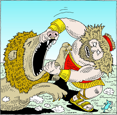 Image Samson Fighting A Lion Samson Clip Art