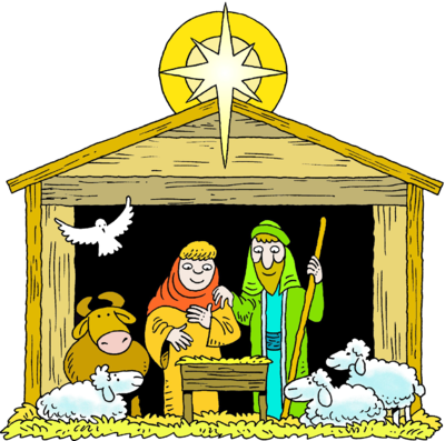 Image: A Star Over a Manger with Mary Joseph Baby Jesus ...