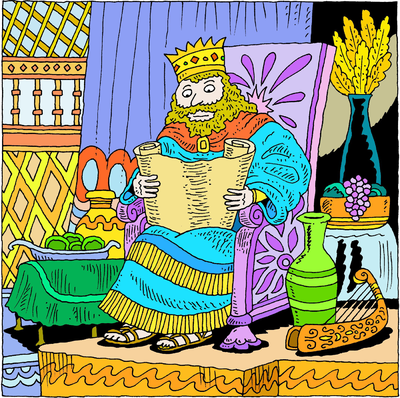 King Solomon Reading a Scroll