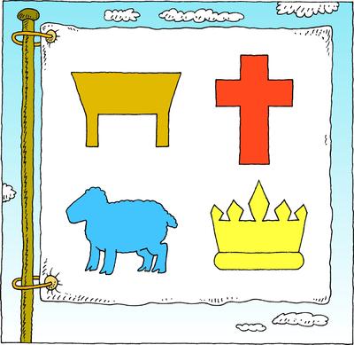 Image: Flag Manger Cross Lamb Crown | Psalms Clip Art | Christart.com