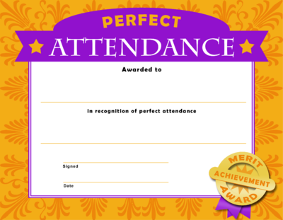Perfect Attendance  Attendance Certificates Free Templates