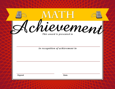 Image: Math Achievement Certificate | Christart.com
