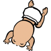This is a above view clipart image of a crawling baby in diapers. It captures the essence of the way babies are so cute all the wile have different proportions than adults.