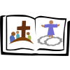This is an image of a children's picture bible. It is colorful and symbolic.