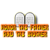 "This is a clip art of the two tablets containing the Ten Commandments, highlighting the fifth commandment, ""Honor thy father and thy mother."""