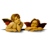 This is an image of two cherubs. They are painted on the ceiling of the Sistine Chapel.