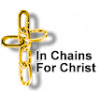 Cross made from chains. Words 'In Chains for Christ'