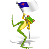This a cute picture of a funny tree frog waving a Christian flag. Children love animals and they will love this frog, no doubt!