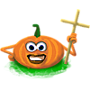 Pumpkin man with cross