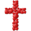 Cross made of hearts