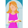 A clip art image of a standing, smiling teenage girl reading the bible. Modern, clean, happy imagery.