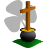 Cross coming out of a pot of gold. The cross is casting the shadow of a shamrock
