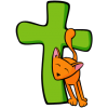 Cat rubbing against a cross