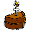 A slice of birthday cake with a cross shaped candle on it