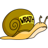 "Frowning snail with the word ""WRATH"" on its shell"