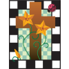 Star like flowers before a cross, framed within a checkered box