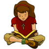 Teenage girl sitting cross legged reading a Bible