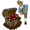 This is an image of a pirate with his foot on an open treasure box. The treasure box is filled with bibles. This image is crisp and rich with color.