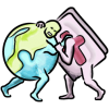 This illustration is a characterization of the earth wrestling the Bible. The art style is water color.