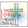 "Cross with star burst and the words ""The LORD Reigns Over All"""