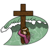 Woman in ocean clinging to cross pylon | Cross Clip Art