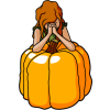Girl praying while leaning on a large pumpkin