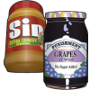"Peanut butter & jelly jars with the words ""Sin"" and ""Punishment"" on their labels"