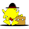 Fish with hat and tie carrying a briefcase
