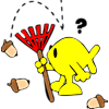 Christian Fish with rake. Acorn falling on head