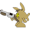 Fish in bunny suit with shotgun