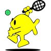 Fish serving a round of tennis