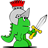 Dragon with sword and helmet