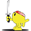 Fish holding up sword