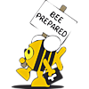 "This is a clip art of a Christian fish dressed in a bee costume and carrying a bible.  He's got a sign in his other hand that reads, ""Bee Prepared."""
