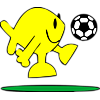 Fish kicking soccer ball