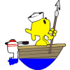 Fish standing on the bow of a boat with a harpoon
