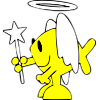 This is an image of a Christian Fish with wings and halo.
