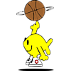 Fish spinning a basketball
