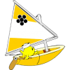 Fish sailing small sailboat