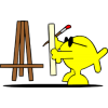 This is a graphic of Christian Fish as an artist placing canvas on easel.