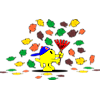 This is a graphic of a boy Christian Fish is raking and playing in the fall leaves. A very colorful image!