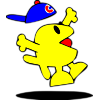This is an image of a jumping for joy junior fish with ball cap, he's in the air and his cap is popped off his head.