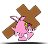 Fish in bunny costume carrying a cross
