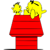 Two Charlie Brown looking fish sitting on a doghouse