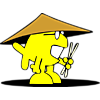 Fish with oriental hat and chopsticks