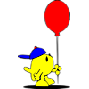 This is a picture of a Kid Christian fish in a blue baseball cap holding a red balloon.